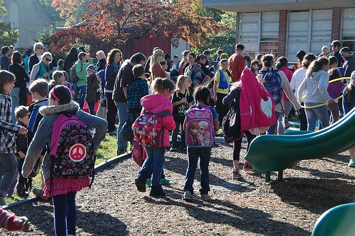 Mills Lawn School's second Walk To School Day was a great success, drawing over 75% participation. (Photos by Matt Minde)