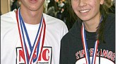 Senior Bulldog Jacob GunderKline race walked to third and fourth place in the nation at the Nike Indoor Nationals and the National Scholastic Indoor Track and Field championships in Boston and New York last weekend. He is pictured with Tipp City Tippecanoe junior Allison Chin, who finished fifth in the Boston girls racewalk, and 11th in New York. GunderKline and Chin traveled with three other Dayton area high school athletes to race at the Reggie Lewis Center in Boston. GunderKline walked in a very competitive men's field and recorded a personal record time for the one-mile race of 7:11.46. That time allowed him to capture fourth place overall and his first All American ranking of the weekend. Sunday, at the famous 169th Street Armory, site of the USA Track & Field Hall of Fame, GunderKline would improve both his place and time. Dropping his one mile personal record nearly another two seconds, he grabbed third place overall in 7:09.47. Over the course of his race walking career, GunderKline has finished sixth, seventh, fourth and third at the Indoor National Championships, improving his time with each outing.