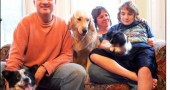 The Gravley-Novellos left the frenetic pace of the Washington, D.C. area and moved to Yellow Springs in July 2008. From left are: Tony, Lori and Connor with their dogs Cody, Olive and Maggie.
