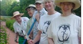 Volunteer gardeners at the Yellow Springs Women's Park include, from left, Liz Milburn, Macy Reynolds, Helen Eier, Mary Cargan and Judy Williams. The park will celebrate its 10th anniversary this Sunday, July 13, from 2 to 4 p.m., at the garden on Corry Street.