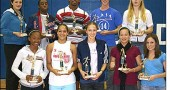 The fall Bulldog sports season's most valuable players, among many other athletes, were honored at the Yellow Springs High School fall sports award ceremony on Wednesday, Nov. 5. First row (left to right): Briana Ayers (seventh grade volleyball); Maryah Martin (eighth grade volleyball); Paloma Wiggins (McKinney cross country); Maiya Hodge (cheerleading); Hanna Kumbusky (cross country); second row: Crystal Reedy (volleyball); Asa Casenhiser (soccer); Raphael Allen (football); Jacob GunderKline (cross country); Ryder Comstock (soccer).