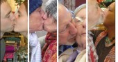 "Many villagers took part last Saturday in ""The Kiss,"" a performance art piece by local artist Nancy Mellon that was part of the Yellow Springs Holiday Festival. As conceived by Mellon, at 3:07 p.m. Saturday 80 couples — romantic, familial, or other — kissed at one of many kissing stations around town. Shown above are, from left, Ryan Berning and Emma Robinow at Current Cuisine, Moya Shea and Marianne MacQueen, Ed and Nancy Vernot at Friends Care Extended Living Center, and Leon Holster and Flo Lorenz, also at Current."