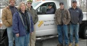 Village road and electric crew members, including from left, Kelley Fox, Jane Hamilton, Dave Conley, Jason Hamby, Jason Woods and Kent Harding, have spent the past two weeks plowing a total of around 20 inches of snow that fell on the village roads and parking lots.