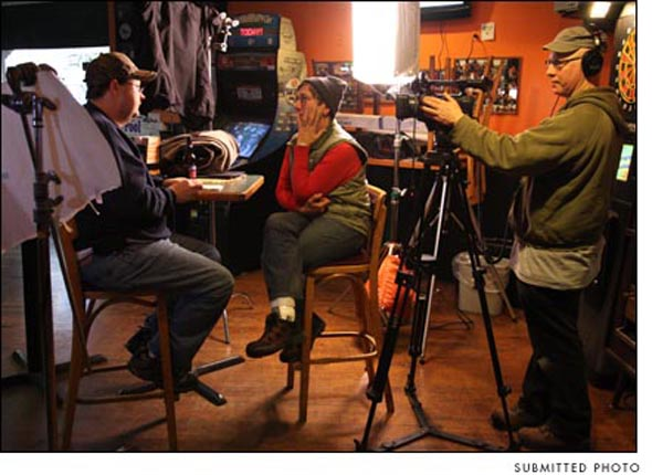 "Filmmakers Julia Reichert and Steve Bognar are shown interviewing GM worker Tim Mobley during the making of ""The Last Truck: Closing of a GM Plant."" The film has been nominated for an Oscar in the short documentary category."