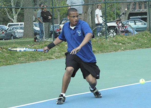 Addison Pettiford led his Bulldog tennis team to victory over Xenia Christian on Thursday, April 22, at the Antioch College courts.