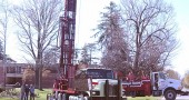 Drilling on the front lawn of the Antioch College to determine the feasibility of using geothermal heating