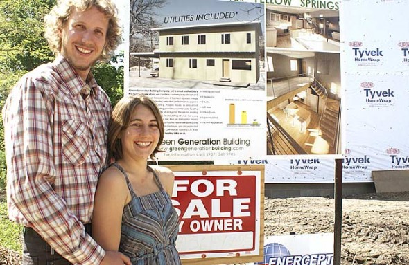 Andrew and Anisa Kline of Green Generation Building Company stand at the construction site of their Yellow Springs Passive House on Dayton Street, which will be completed in July. They hope their structure meets the rigorous energy efficiency standards of the Passive House.