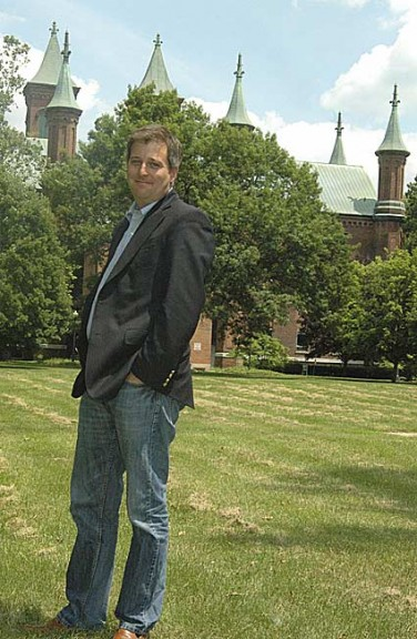 Antioch College Interim President Matthew Derr is shown in front of Main Building on campus last summer, shortly before the college became independent.