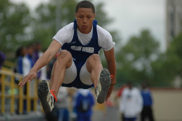 Chris Johnson jumped to fourth place at Tuesday's district track meet