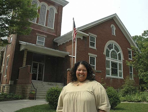 "Yellow Springs native Sherri Blackwell, the new pastor at the United Methodist Church, gives her first sermon on Sunday, June 6, at 10:30 a.m. Blackwell plans to lead the church with a focus on ""faith in action."" (Photo by Megan Bachman)"