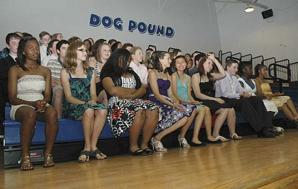 McKinney Middle School eighth-graders await promotion Wednesday, June 2, at the high school gym. (Photo by Diane Chiddister)