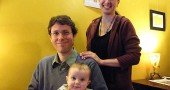 Author and Central State professor Jayson Iwen and yoga teacher Jovana Bouche Iwen are new residents of Yellow Springs. They're shown with their son, Marlow. (Photo by Brooke Bryan)