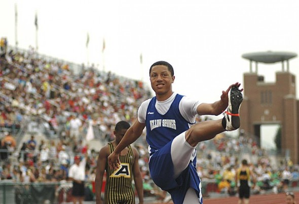 Chris Johnson was one of four members of the YSHS track team competed in the state championships at The Ohio State University on Saturday, June 5. He is shown here doing a leg kick in preparation for the 4x200 relay.