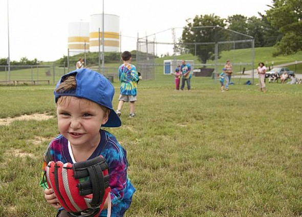 Oriah Foley was one of many enthusiastic t-ball players last Friday, June 11, at Gaunt Park. T-ball meets there each Friday evening from 6:30–8 p.m. and is open to all 2 to 9 year olds and their parents. (Photo by Aaron Zaremsky)