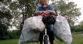 Longtime villager and former Antioch College faculty member Michael Kraus recently collected several hundred discarded aluminum cans on a 50-mile trip down the bike trail, a typical load for the ride he takes three times a week.