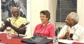 "Antioch College alumni Prexy Nesbitt, left, Joni Rabinowitz and Paul Graham took part in a panel discussion on Friday, June 18, on local civil rights actions, with a focus on the effort to desegregate the Gegner barbership in 1964. The reunion's overall theme was ""Race and Social Justice."" (submitted photo by Dennie Eagleson)"