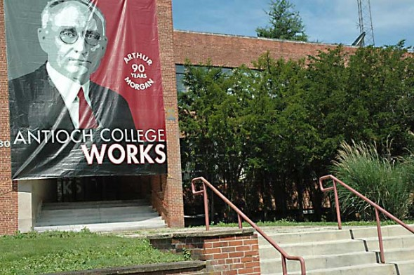 A larger-than-life Arthur Morgan welcomes Antioch College alumni, who begin a four-day reunion today. About 260 have registered so far, but up to 100 more may show up as well, according to college Assistant Development Director Aimee Maruyama. Alumna Eleanor Holmes Norton, the U.S. Congresswoman from Washington, D.C., will speak at the Saturday, June 22, alumni dinner.