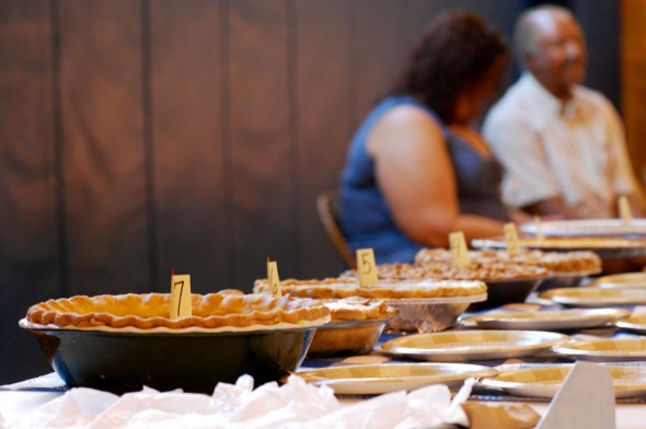 Juneteenth pies lined up for the judges during the Juneteenth celebration