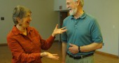 National affordable housing leader John Emmeus Davis of Burlington, Vermont with Marianne MacQueen of Yellow Springs Home, Inc., who partnered with the Village of Yellow Springs to bring Davis to town. Davis discussed affordable housing issues with a small group of citizens on Monday morning. (Photo by Megan Bachman)