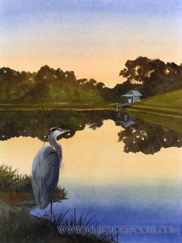 "Farm Pond, Twilight by Julie Zickefoose. From ""Letters From Eden,"" 2006."