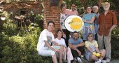 Last Saturday Yellow Springs Arts Council members worked to help ready their new home on Xenia Avenue, the arched structure built by Alan Macbeth. The space will serve as a Welcome Center for the YS Experience, which kicks off Friday, July 9, at 4 p.m. at the building. Shown above are, seated in front, Arts Council Coordinator Carole Braun, Phyllis Schmidt, Jerome Borchers and Joanne Caputo. Standing in back are Sally Palmer, Michael Fleishman, Anita Brown, Michael Brown and Macbeth.
