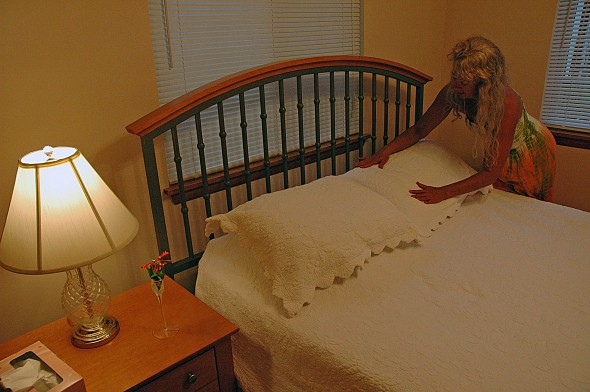 Bed linens at Elizabeth's Overnight are dried on a clothesline, a touch owner Elizabeth Price says her guests notice.