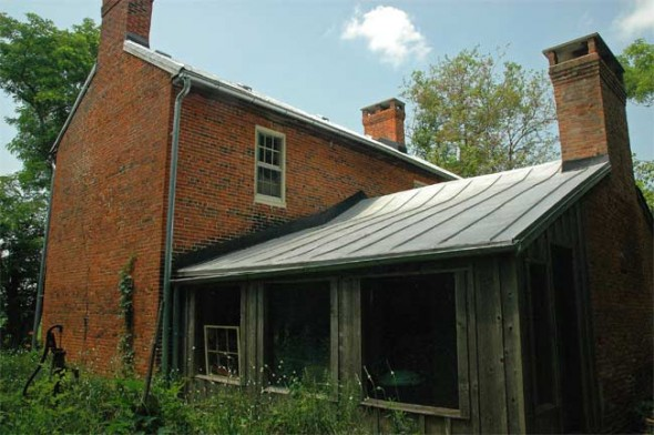 A view of the Eppel House from the rear, including the original brick building, built in 1826 and an addition from 1836.