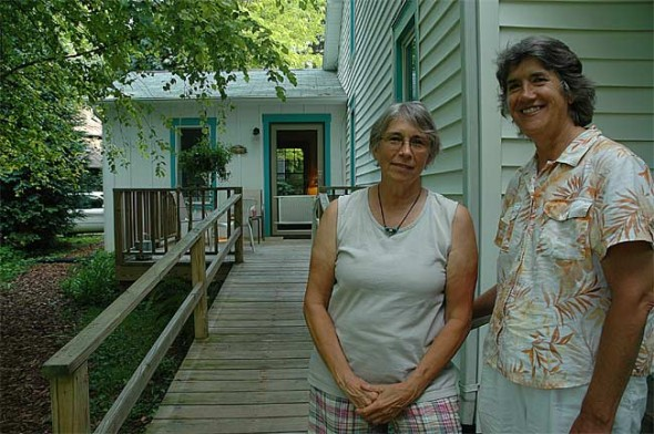 From left are Marianne MacQueen and Patti Dallas, co-owers of the new Village Guesthouse, an accessible duplex suite on Whiteman Street.