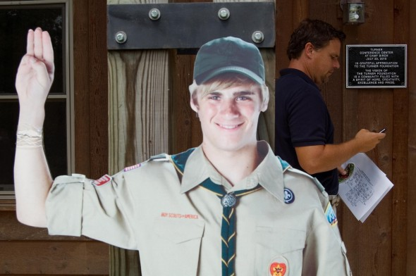 A cardboard recruit proudly supports the newly dedicated Camp Birch facility (photo by Aaron Zaremsky)
