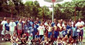 Bulldog basketball campers gathered at the Bryan Center outdoor courts last week. (submitted photo)
