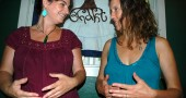 Amy Chavez (left) and Marybeth Wolf of the Yellow Spring Red Tent group shared practices for womb and belly self-massage at the Bhakti house on Herman Street.