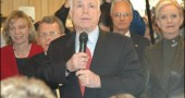 John McCain stumped at Young's Wednesday with his wife, Cindy McCain, and Ohio campaign chairman Mike DeWine, left.