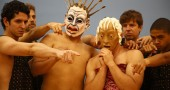 "Members of the New York city-based Faux-Real Theater Company rehearsed for a production of ""Oedipus Rex,"" to be held at the Antioch amphitheater on Aug. 20, 21 and 22. Roles in the all-male cast are available for local actors, in addition to spaces in a local workshop with the director, Antioch graduate Mark Greenfield. (Submitted Photo by Jeff Wood)."