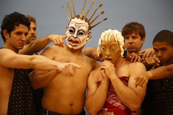 """Members of the New York city-based Faux-Real Theater Company rehearsed for a production of """"Oedipus Rex,"""" to be held at the Antioch amphitheater on Aug. 20, 21 and 22. Roles in the all-male cast are available for local actors, in addition to spaces in a local workshop with the director, Antioch graduate Mark Greenfield. (Submitted Photo by Jeff Wood)."""