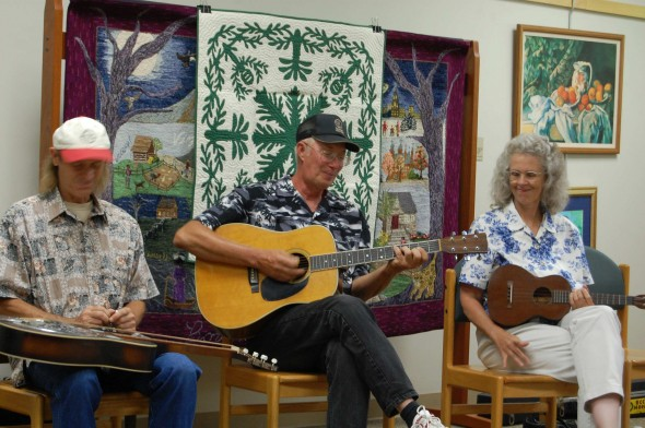 Doug Smith, Floyd Alexander and Barb Kuhns at the library (photo by Aaron Zaremsky)