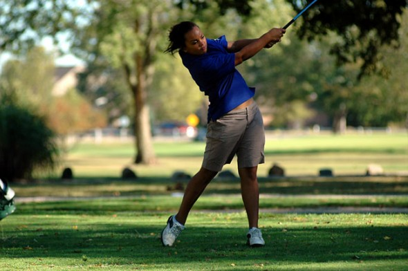 Rachele Orme drives a ball down the fairway on the first hole.