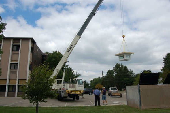 A skylight being installed at the high school. (Submitted photo by Ted Donnell)