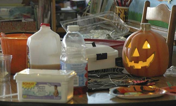 Treats await Mills Lawn School students on their return from their annual Halloween Parade.