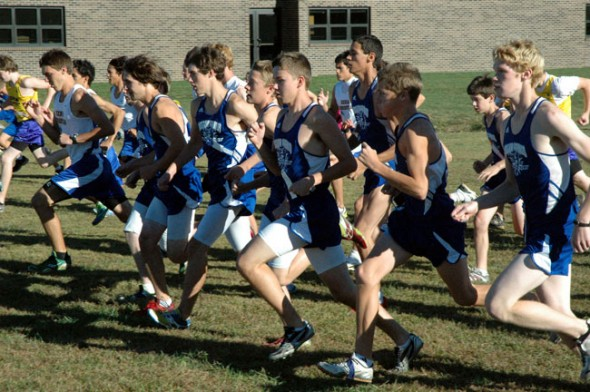 The Yellow Springs High School boys cross country team takes off from the starting block at their home tri-meet on Thursday. (Photo by Megan Bachman)