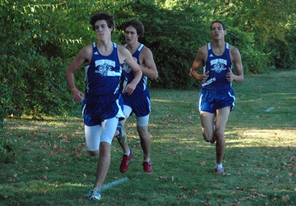 At the front of the pack at Thursday's cross country meet were Zack McHugh, Gabe Amrhein, and  Nerak Patterson. (Photo by Megan Bachman)