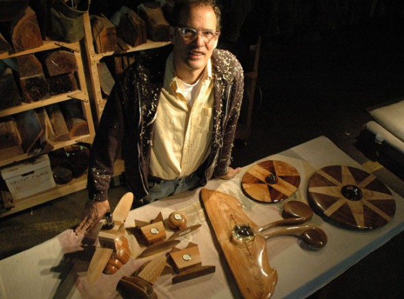 Tom Hawley, who creates modern clocks, wood sculptures and bowls out of downed trees, will showcase his craft in his Millworks studio as part of the Artist Studio Tour. (Photo by Megan Bachman)