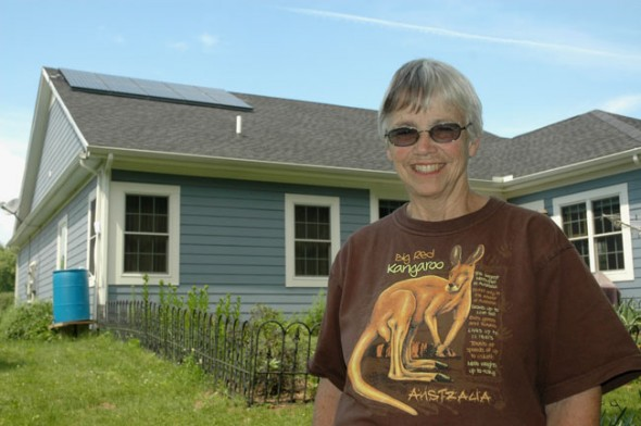 Pat Brown's solar home, featuring ten solar photovoltaic panels, will be on display this weekend as part of the national solar home tour. (Photo by Megan Bachman)
