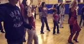 "Many limber and enthusiastic villagers, both children and adults, showed up at the Bryan Community Center gym on Saturday, Oct. 23, to dance to Michael Jackson's ""Thriller,"" as part of ""Thrill the World,"" a worldwide simultaneous dance to the Jackson tune. Ali Thomas, shown at right, and Jade Turner taught the dance at several rehearsals during the week. The dance will be repeated this Saturday, Oct. 30, at 9:30 p.m. in front of Sam & Eddie's Open Books in downtown. Yellow Springs Dance is sponsoring the events. (photo by Vanessa Query)"