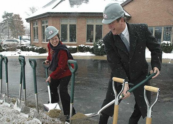 At a ceremonial groundbreaking on Monday, Friends Care Community Board President Mary White and Director Karl Zalar raised their shovels to the new $2.25 million rehabilitation wing being built at the facility. (Photo by Megan Bachman)