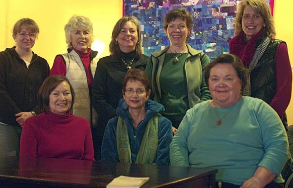 Top row from left to right: Beth Rubin, Macy Reynolds, Rebecca Morgann, Sandy McHugh, and Naomi Ewald-Orme. Bottom row from left to right: Susan Stiles, Carla Steiger and Carol Cottom. (Photo by Sehvilla Mann)