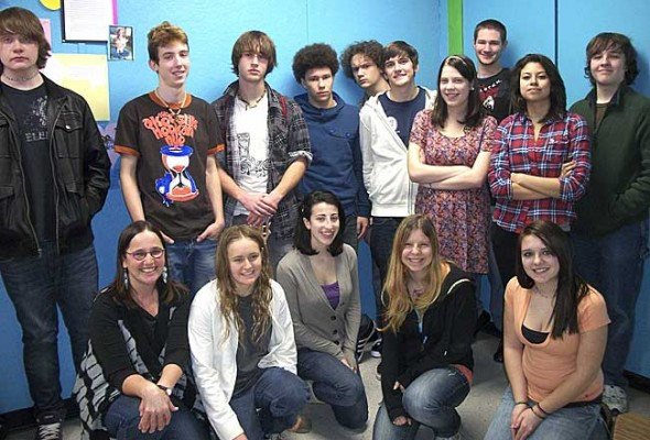 The new Writing for Publications class at Yellow Springs High School, taught by English teacher Desirée Nickell, is putting out a monthly newspaper. Class members pictured are, front row left to right, Ms. Nickell, Rachell Meyer, Liana Rothman, Julia Tucheslau and Shyanne Barnett. Those in the top row, left to right, are Collin Hardy, Rory Papania, Gabe Amrhein, Jazz Exel, Henry Crews, Issac Haller, Kelly Miller, Austin Bailey, Bella Hernandez and Max Mullin. (Photo by Kelsey Cundiff)