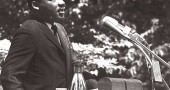 Dr. Martin Luther King Jr. delivers the 1965 commencement address at Antioch College. (Photo courtesy of Antiochiana/Antioch College Archives)