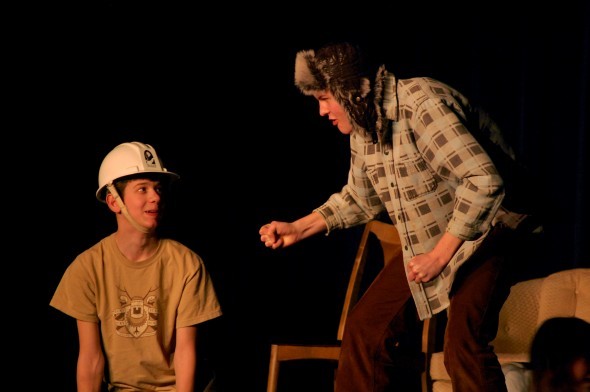 Josh Seitz and Elliott Cromer enage in zany antics during the YSHS One Acts (photo by Aaron Zaremsky)