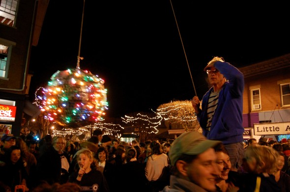 Lance Rudegeair ushers in the new year at the Yellow Springs ball drop (photo by Aaron Zaremsky)
