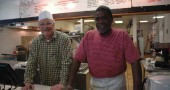 CJ's proprietors Jim Zehner and Carl Moore before the dinner rush last Thursday.